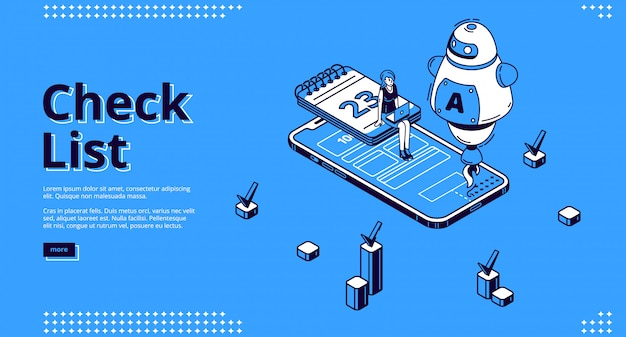 Check list isometric landing page online checklist
