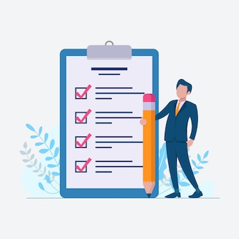 Check list to do list with businessman on flat design illustration