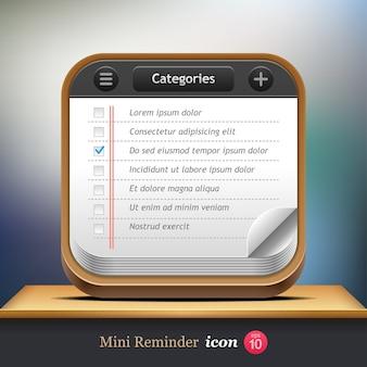 チェックリスト。 webまたはモバイルアプリケーションのミニリマインダーアイコン。 。