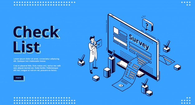 Check list, online survey isometric web banner