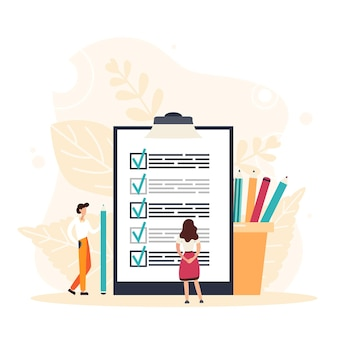 Check list with done mard, businessman with questionnaire on clipboard. planning schedule concept. flat vector illustration.