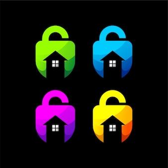 チェックロックホームグラデーションロゴセットテンプレートデザイン