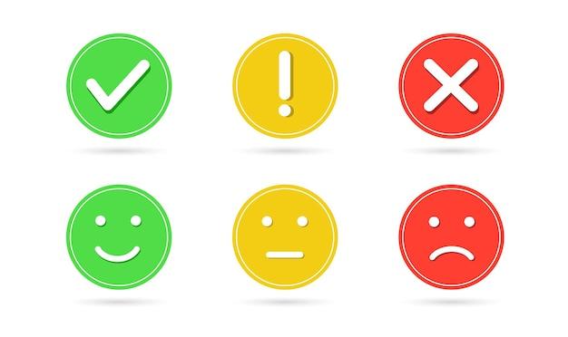 확인 표시 및 십자 버튼 느낌표 얼굴 미소 아이콘 긍정적 중립 및 부정적