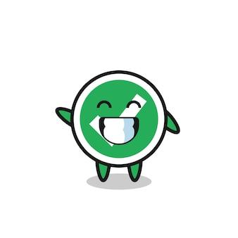 Check mark cartoon character doing wave hand gesture , cute design