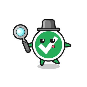 Check mark cartoon character searching with a magnifying glass , cute design