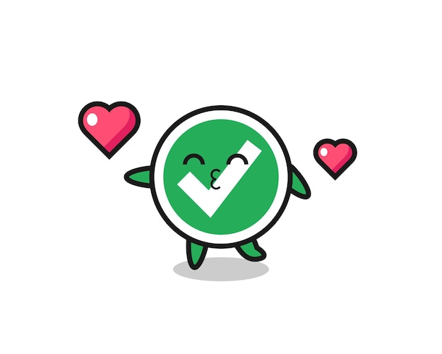 Check mark character cartoon with kissing gesture , cute design