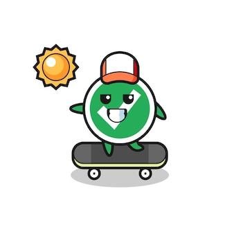 チェックマークのキャラクターイラストがスケートボードに乗る、かわいいデザイン