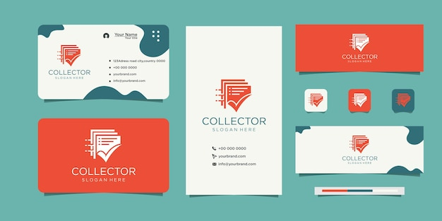 Check mark document list logo and business card