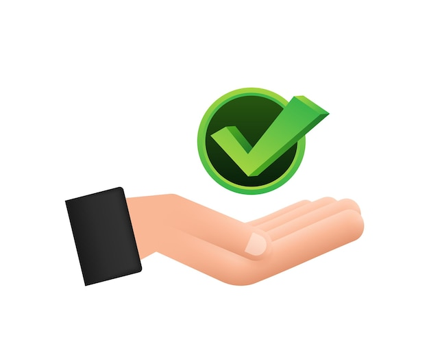 Check mark hanging over hands green approved star sticker on white background