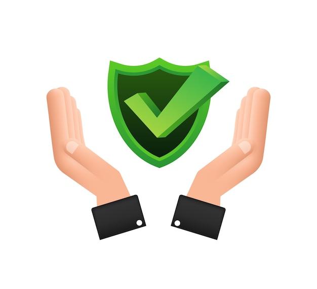 手に掛かっているチェックマーク白い背景の上の緑の承認された星のステッカー