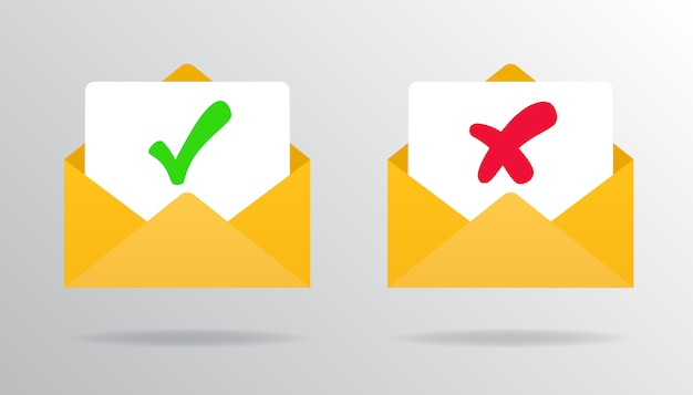 Check mark in mail confirm and rejection emailapproved or rejected. Premium Vector