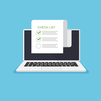 Check mark on the pages on laptop monitor to do list concept in trendy flat style