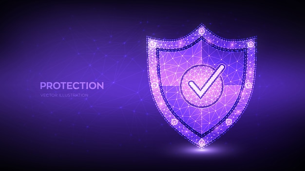 Check mark on security shield. protection or safe business concept. cyber security and network safety.
