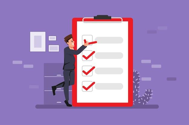 사업가와 클립 보드 개념에 체크 표시를 확인합니다.