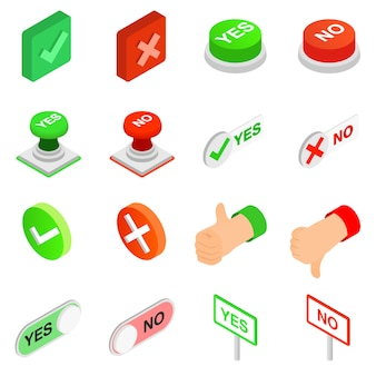 Check mark yes and no icons set in isometric 3d style