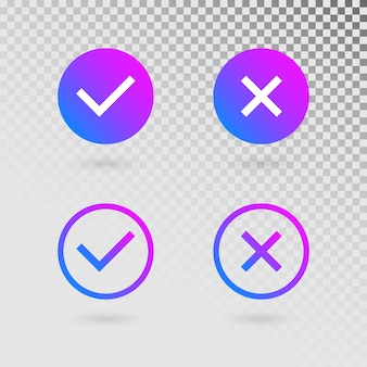 Check marks set in modern gradient colors. bright tick and cross in circle shapes