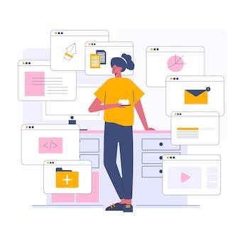 Controlla i media online e la posta, illustrazione in stile cartone animato