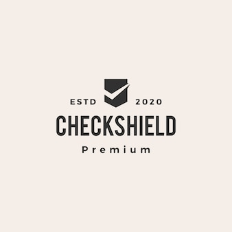 Check shield hipster vintage logo  icon illustration