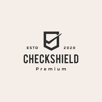 Check shield  vintage logo  icon illustration