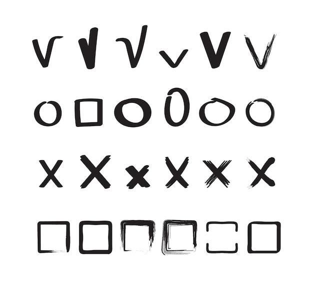 표지판을 확인하십시오. 틱 및 십자형 원 및 사각형 손으로 그린 스케치 모양 벡터 확인 표시 컬렉션입니다. 눈금 확인, 십자가 표시, 오른쪽 그림 확인 표시