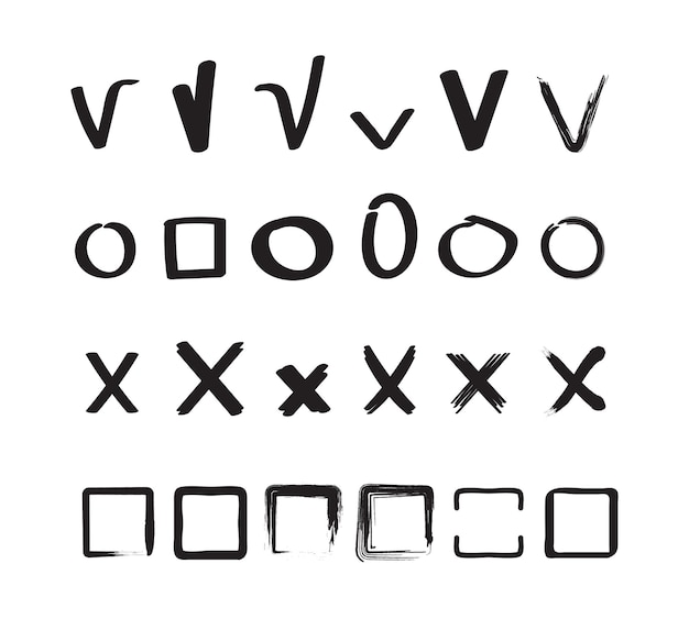Check signs. ticks and crosses circles and square hand drawn sketches shapes vector check marks collection. check tick, mark cross, checkmark right illustration