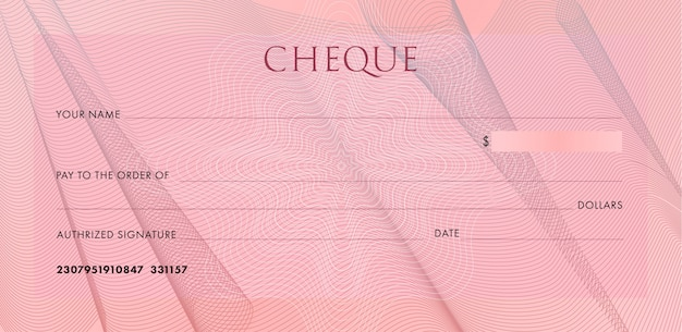 Check template, chequebook. blank pink business bank cheque with guilloche cloth folds and abstract watermark.