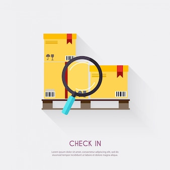 Check in. warehouse icons logistic blank and transportation, storage   illustration.