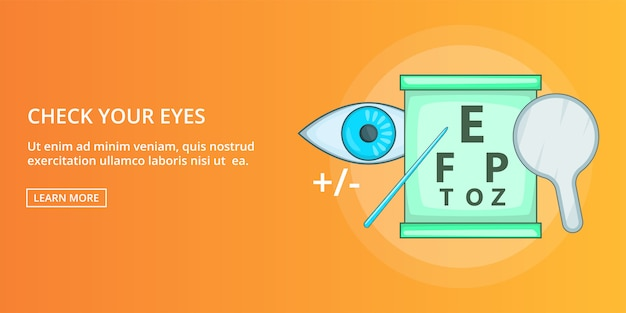 Check your eyes banner horizontal, cartoon style