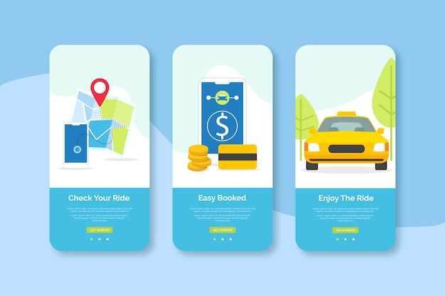 Check your ride online mobile interface design