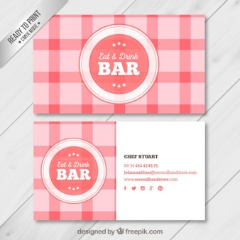 Checked business card