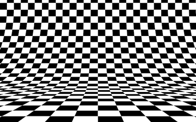 Checkerboard curved background empty in perspective