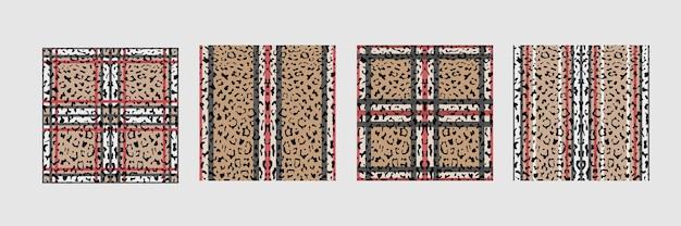 市松模様とストライプのヒョウファッションシームレスパターンセット