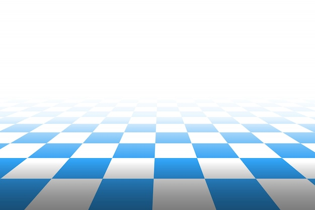 Checkered background in perspective. squares - blue and white.  illustration.