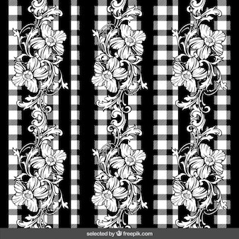 Checkered background with floral ornaments