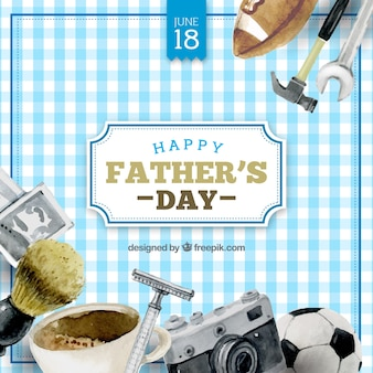 Checkered background with watercolor items for father's day