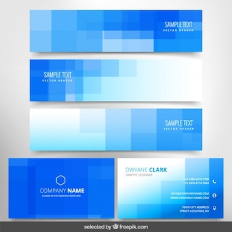 Checkered banners and business cards