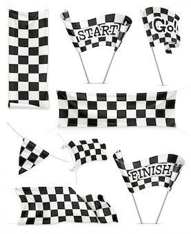 Checkered banners and flags, set