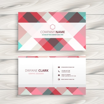 Checkered business card in pastel colors