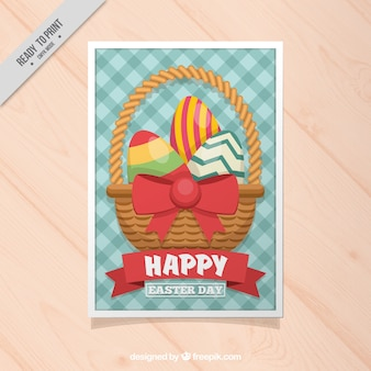 Checkered easter card with basket and eggs