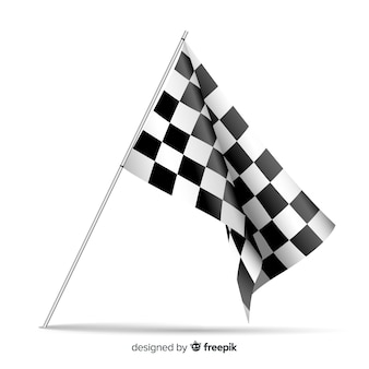 Checkered flag background in realistic style