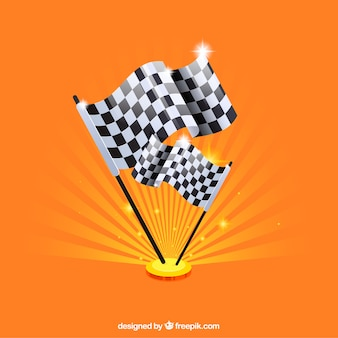 Checkered flag background with flat design