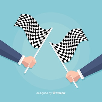 Checkered flag background with hands