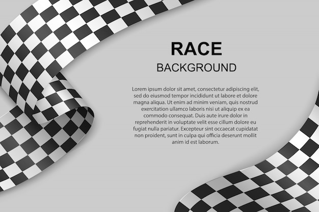 Checkered flag background with text template. illustration