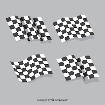 Checkered flag collection with flat design