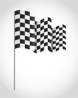 Checkered flag over gray background vector illustration