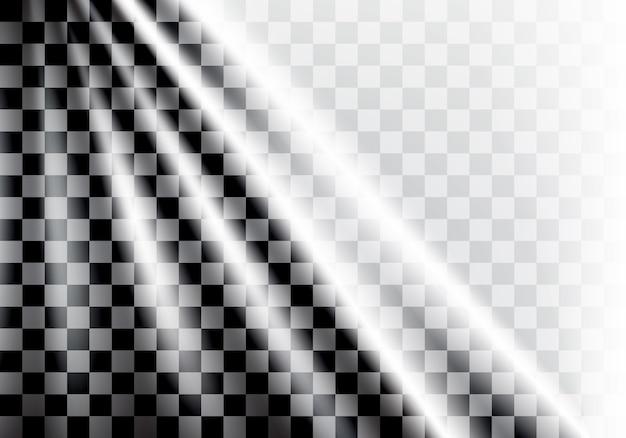 チェッカーフラッグの波と光の背景。