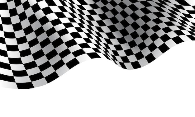 スポーツレース選手権の白い背景の上の市松模様の旗の波