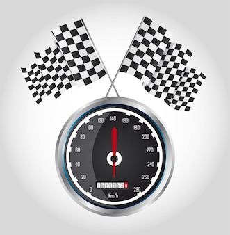 Checkered flag with speed racing over gray background vector