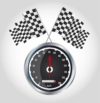 灰色の背景ベクトル上のスピードレースでチェッカーフラッグ