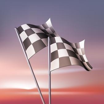 팬과 대회를위한 체크 무늬 깃발